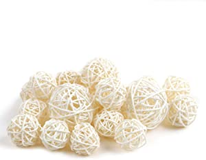 Qingbei Rina Wicker Rattan Balls Bag, Garden, Wedding, Party Decorative Crafts, House Ornaments, Vase Fillers Decorative Orbs Natural Spheres Christmas Tree. Set of 18. (Natural White)