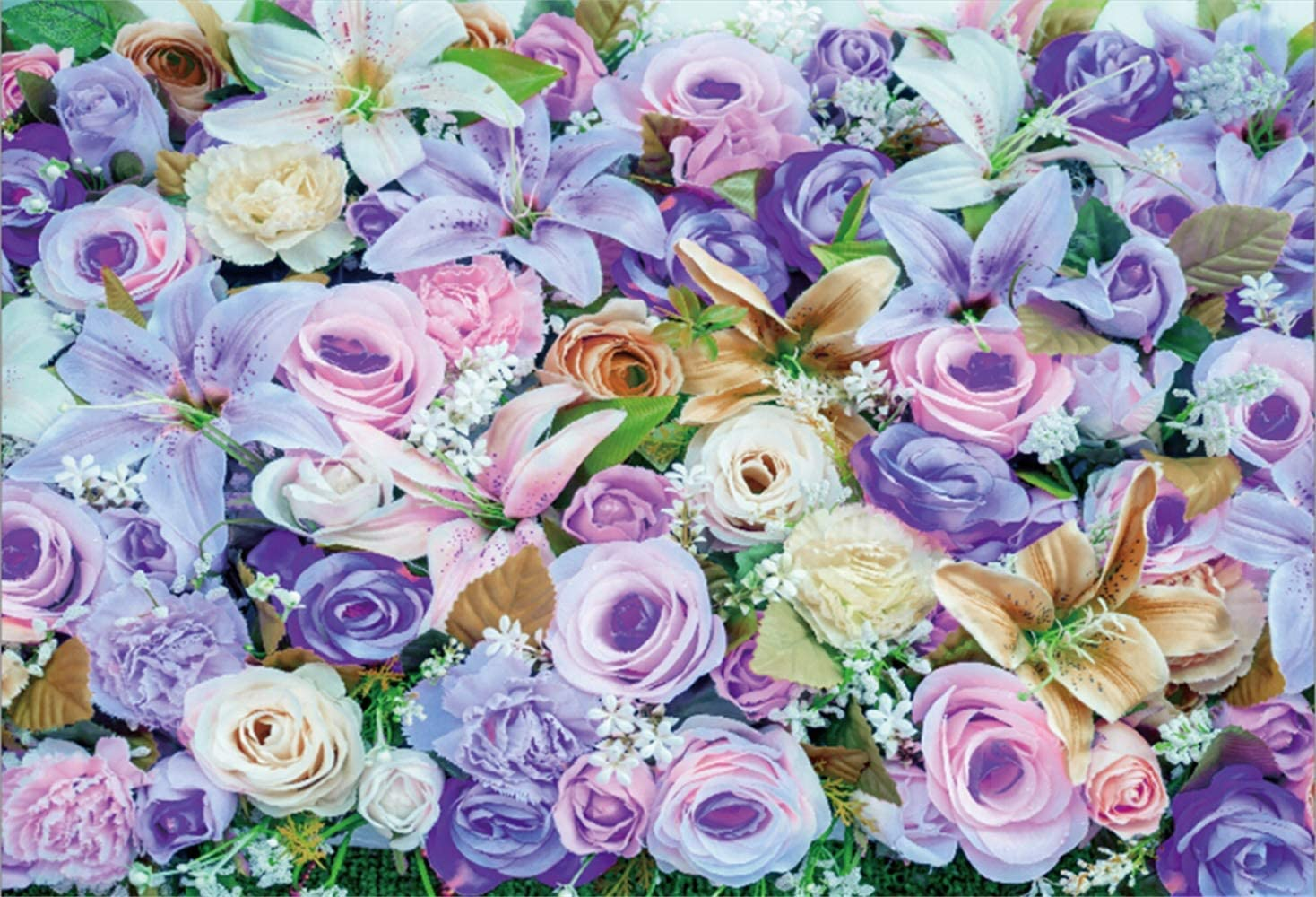 Pink Purple Tone Flower Wall Backdrop 10x6.5ft Polyester Graceful Rose Tulips Flowers Floral Wedding Stage Background Bridal Shower Party Banner Wedding Activities Video Studio Props