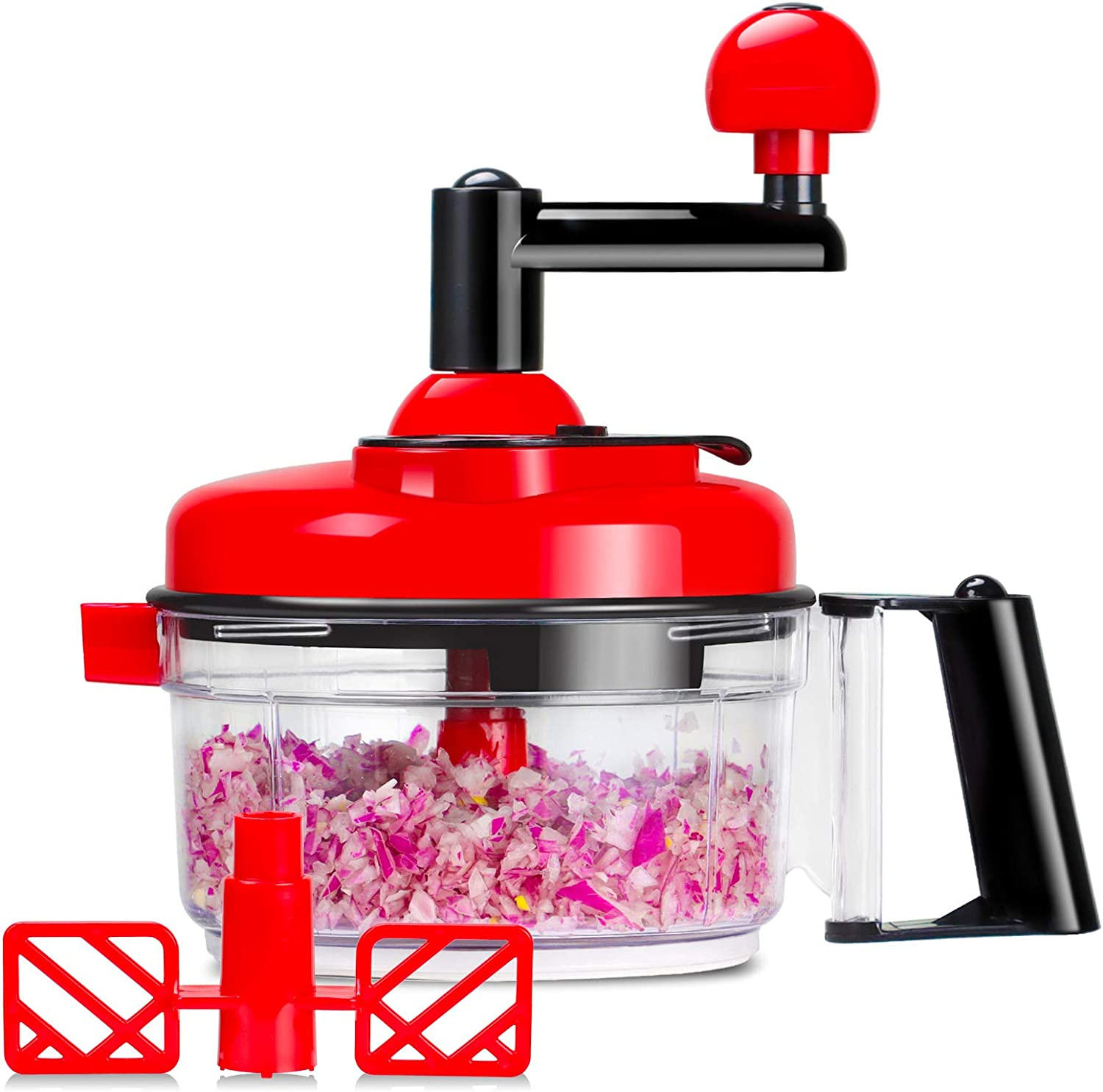 Cambom Manual Food Chopper Vegetable Chopper Hand Food Processor, Mixer, Blender, Whipper, Egg White Separator, Mincer, Grinder, Dicer with Clear Container 1200ml BPA Free Strong and Durable