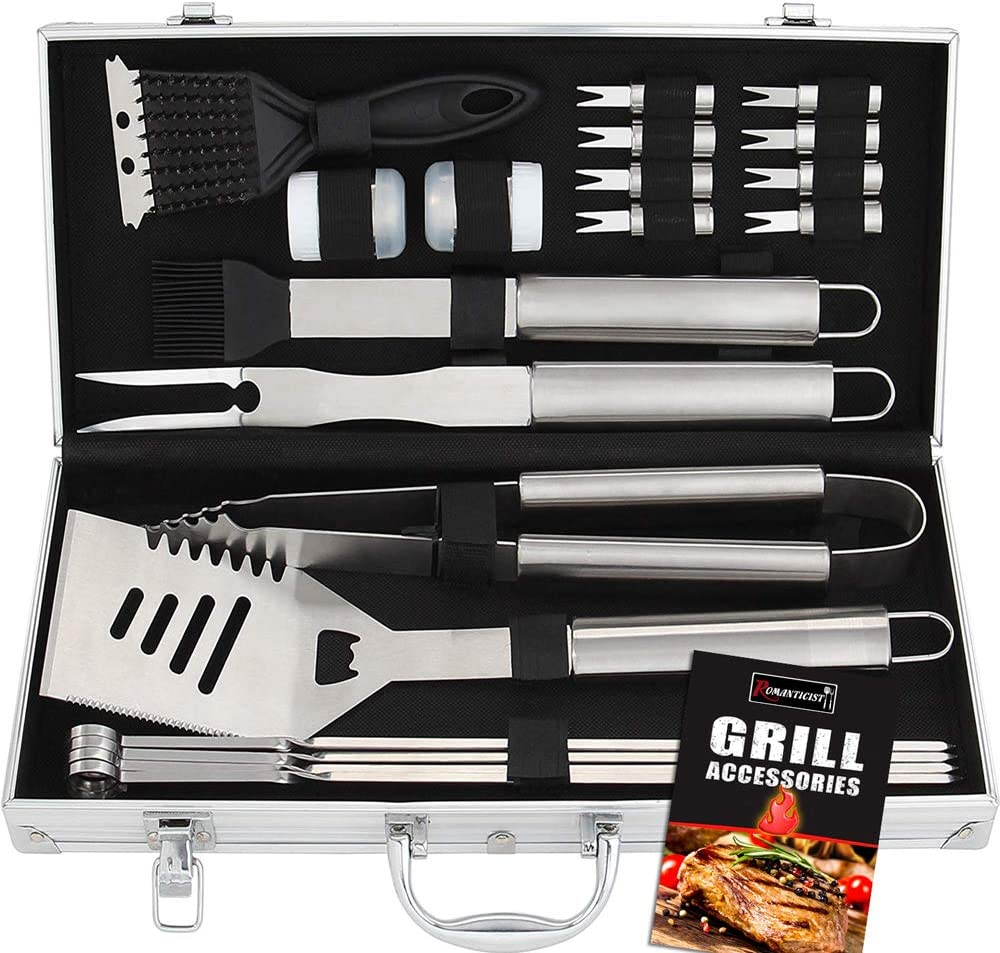 ROMANTICIST 20pc Stainless Steel BBQ Grill Tool Set – Perfect BBQ Gift for Men Women on Birthday Wedding – Complete Outdoor Barbecue Grilling Accessories Kit in Aluminum Storage Case