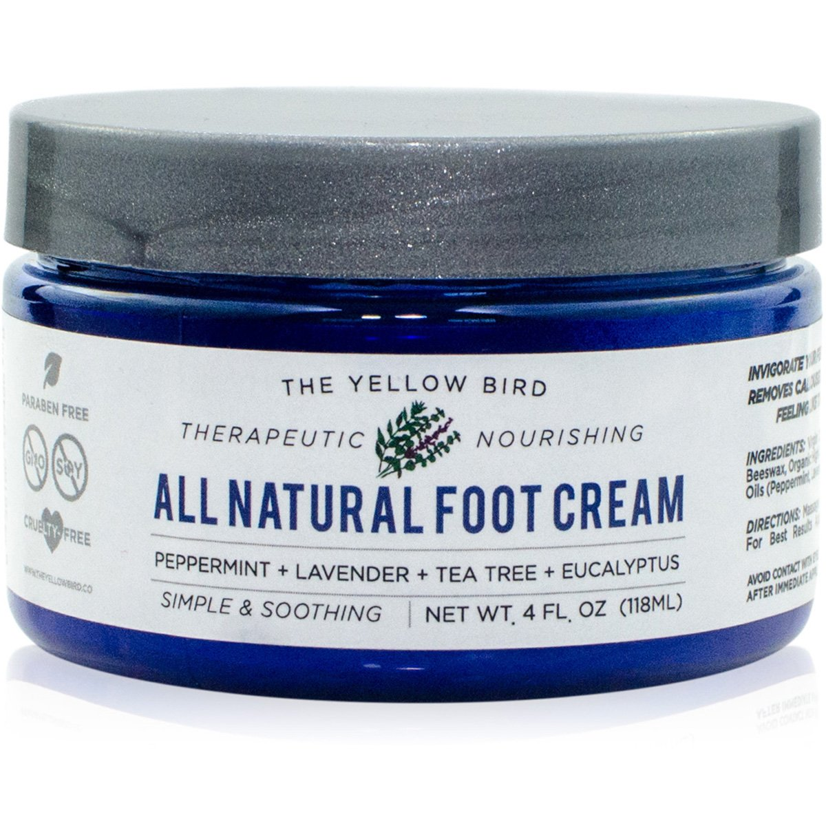 All Natural Antifungal Foot Cream. Moisturizing Organic Relief for Dry Cracked Heels, Callused Feet, Athletes Foot. Best Therapeutic Grade Essential Oils: Peppermint, Lavender, Eucalyptus, Tea Tree. by The Yellow Bird (Image #1)