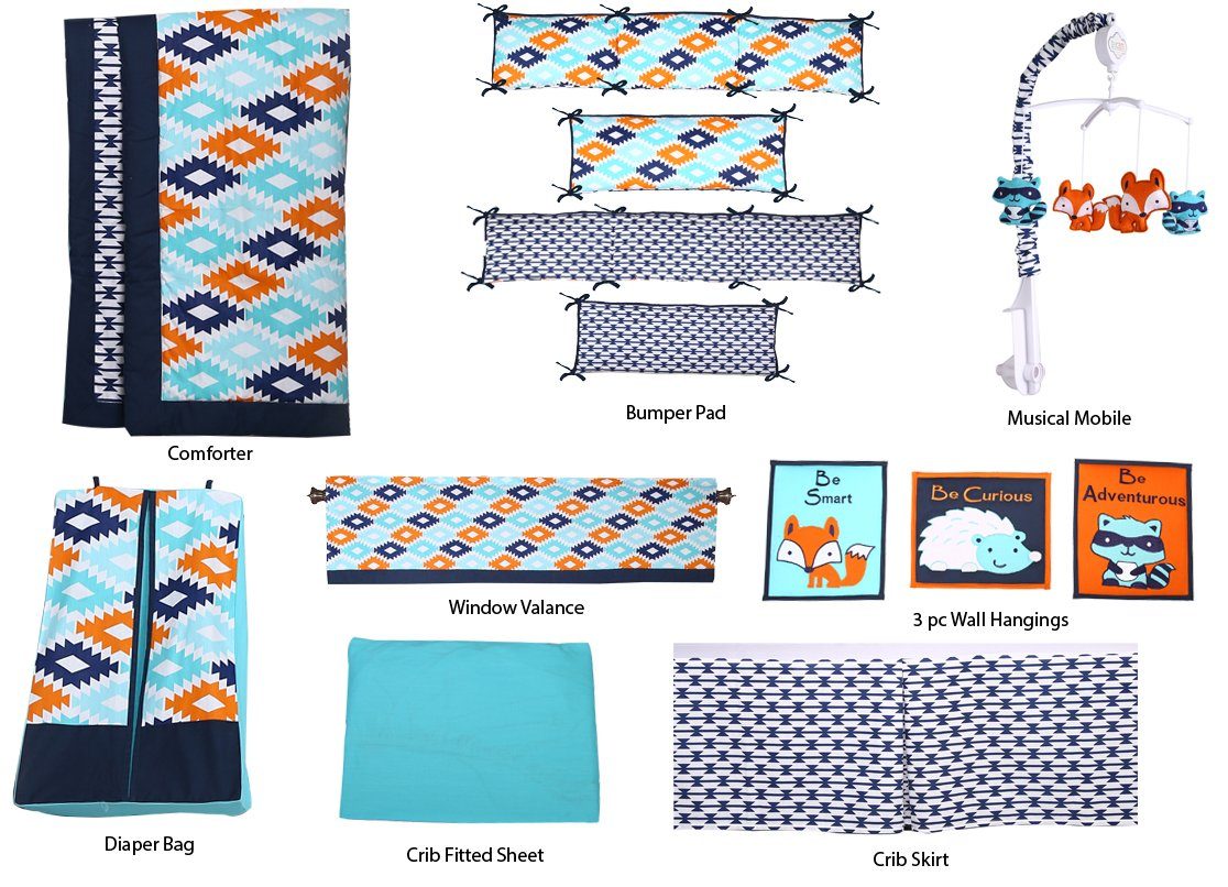 Bacati Liam Aztec 10 Piece Nursery-in-a-Bag Cotton Percale Crib Bedding Set with Bumper Pad, Aqua/Orange/Navy AZAON10CS