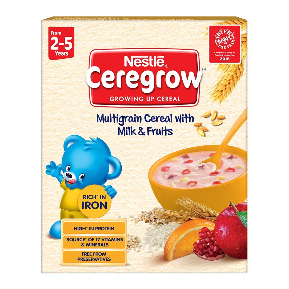 Nestlé CEREGROW Fortified Multigrain Cereal with Milk and Fruits, 300g Bag-In-Box Pack product image