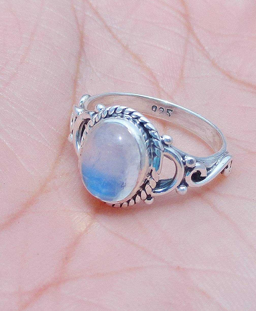 Solitaire Ring 925 Sterling Silver Oval Rainbow Moonstone Boho Handmade Jewelry for Women Size 9