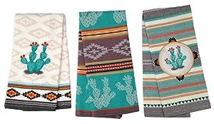 Simply Southwest Cactus Kitchen Towels Set of 3, Colorful Terry Towel - Woven Jacquard Towel - Ornamented Cactus Tea Towel