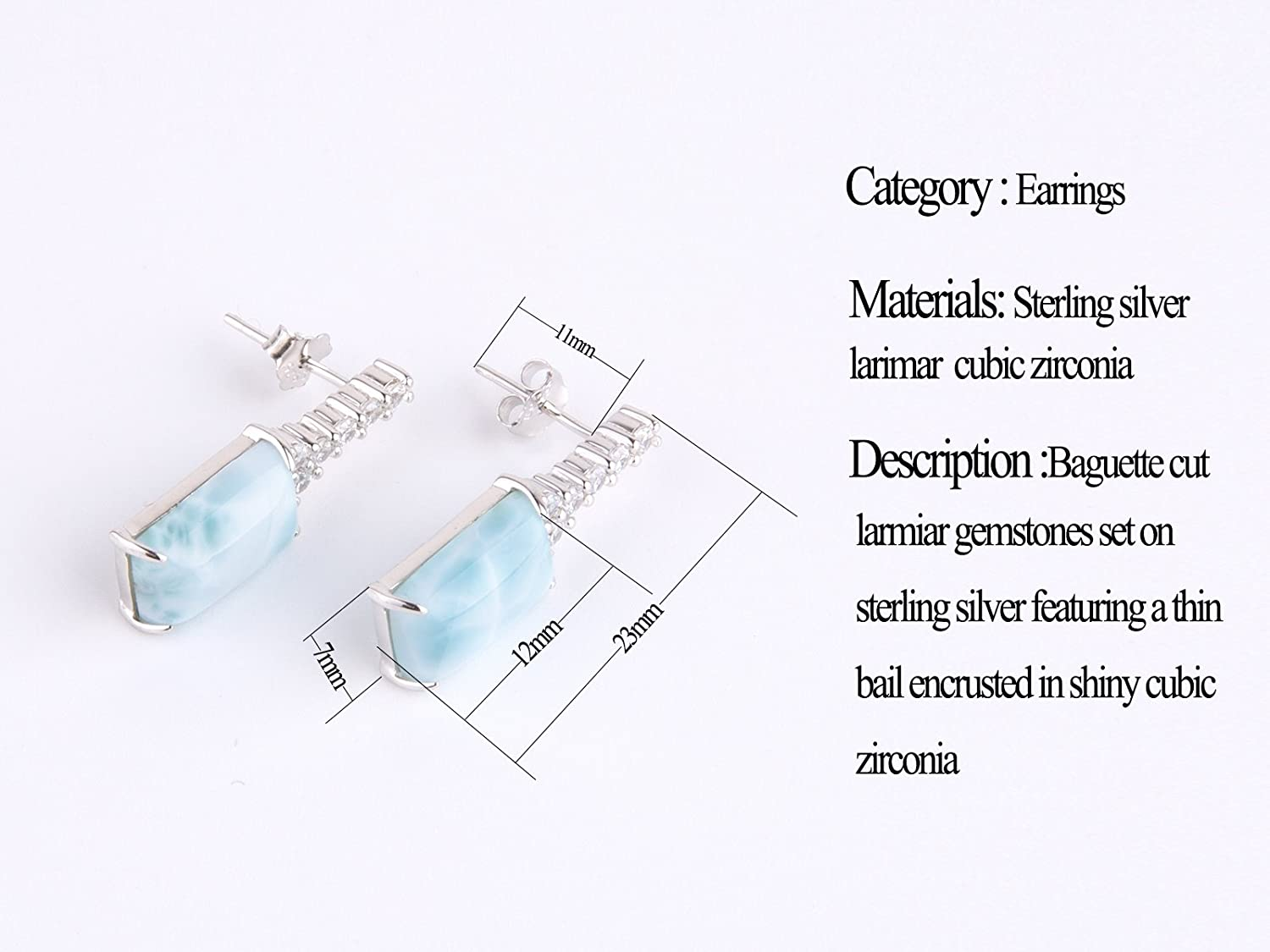 Sterling Silver Jewelry Larimar Earrings Nature Genuine Blue Classic Fashion Handmade Larimar Gemstones Earrings for Women and Girls Special for Mother Day Tuoke Technogloy US/_JWE/_B077D249B7