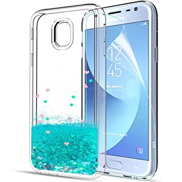 LeYi Compatible con Funda Samsung Galaxy A3 2017 con HD Protectores de Pantalla,Silicona Purpurina Carcasa Transparente Cristal Bumper Telefono Gel ...
