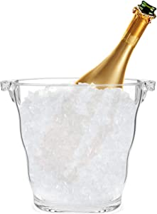 Square Shape Clear Acrylic Ice Bucket with Handle | great Ice Container for Parties, Home, Bar | Compact Beverage Champagne Cooler | Wine Chiller | 3.6 Quart Capacity