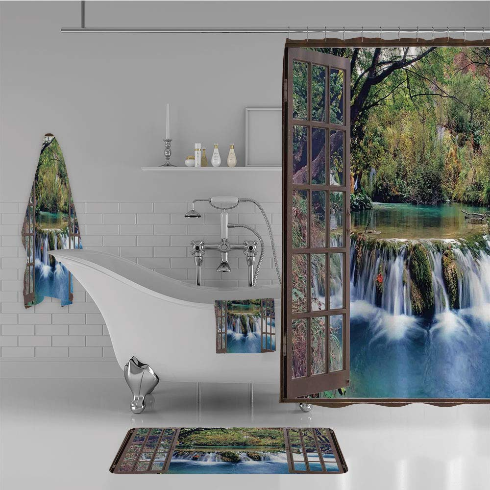iPrint Bathroom 4 Piece Set Shower Curtain Floor mat Bath Towel 3D Print,Deep Down in The Forest Seen from A City Window,Fashion Personality Customization adds Color to Your Bathroom.