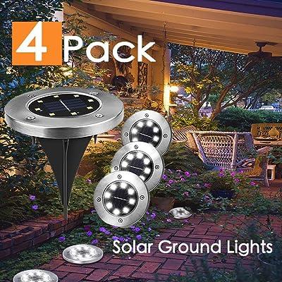 LIGHTSMAX Solar Ground Lights, 8 LED Disk Lights Solar Powered Waterproof Garden Pathway Outdoor In-Ground Lights for Yard, Deck, Lawn, Patio and Walkway (4) : Garden & Outdoor