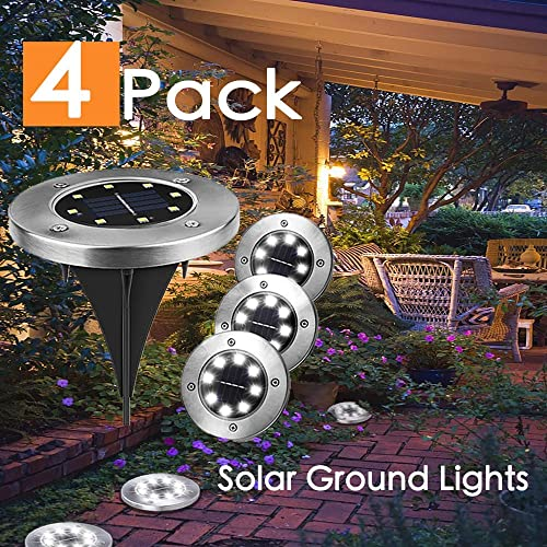 Solar Ground Lights,8 LED Disk Lights Solar Powered Waterproof Garden Pathway Outdoor In-Ground Lights for Yard,Deck,Lawn,Patio and Walkway 4