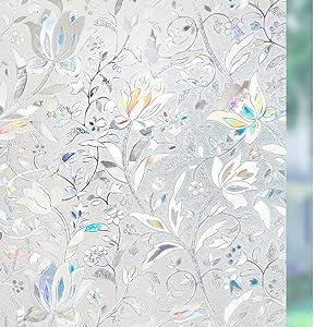 rabbitgoo Door Privacy Window Film, Decorative Rainbow Glass Film, Stained Glass Window Decals, Static Cling Window Vinyl, Door Window Covering, Removable Window Sticker, UV Blocking Blooming Flowers