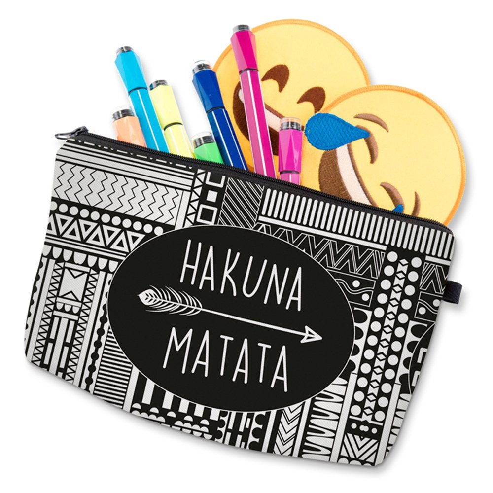 Roomy Cosmetic Bag,3 piece Set Deanfun Waterproof Travel Toiletry Pouch Makeup with Zipper (Hakuna Matata) by Deanfun (Image #9)