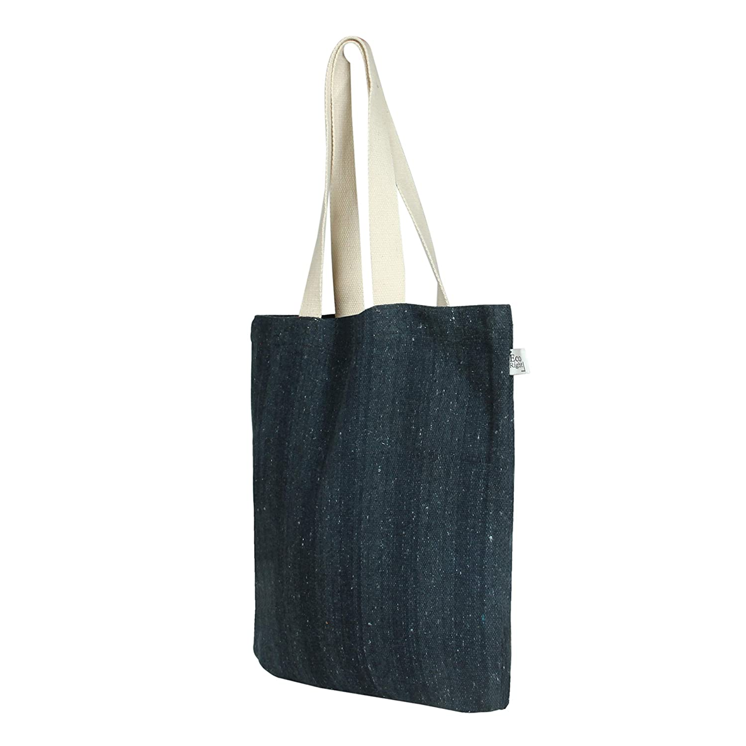 EcoRight Reusable Grocery Bags, Grocery Tote Foldable made of Cotton - 100% Eco Friendly - Black