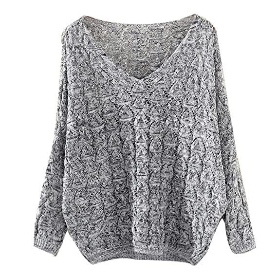 Koly Mujeres Ahuecar Murciélago Batwing manga Suelto V Collar punto cardigan sweaters Jersey Mujeres Parka Suéter