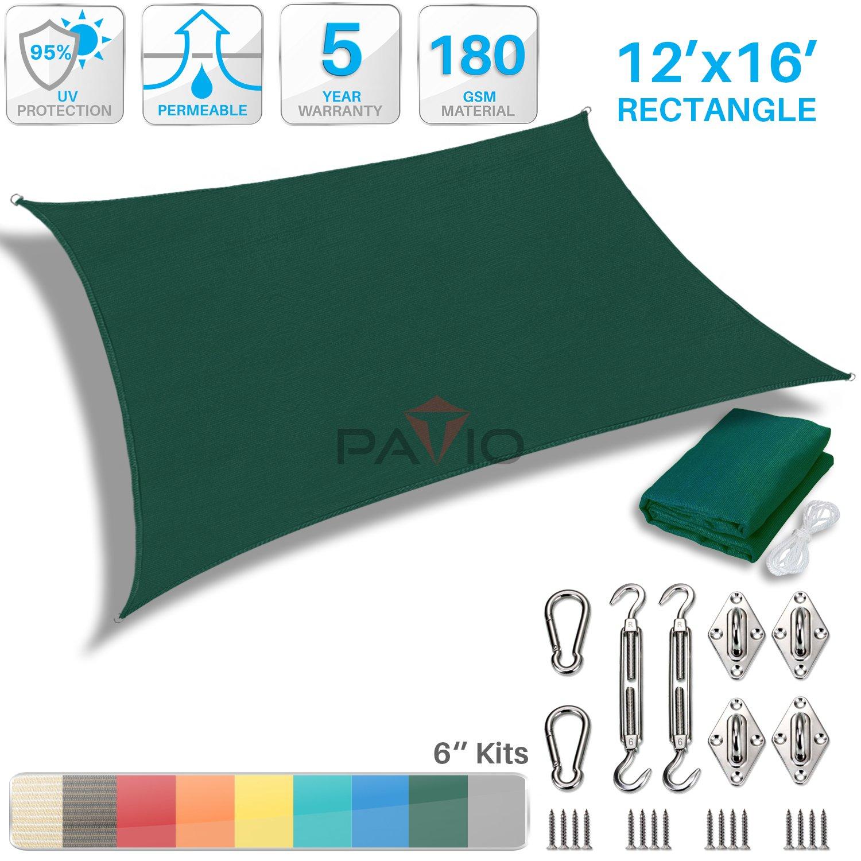 Patio Paradise 12' x 16' Sun Shade Sail with 6 inch Hardware Kit, Dark Green Rectangle Patio Canopy Durable Shade Fabric Outdoor UV Shelter Cover - 3 Year Warranty - Custom
