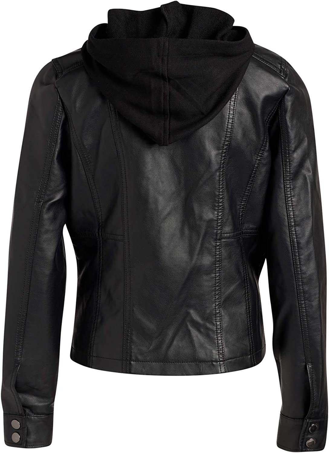 JOU Big Girls Faux Leather Jacket with Removable Fleece Hood