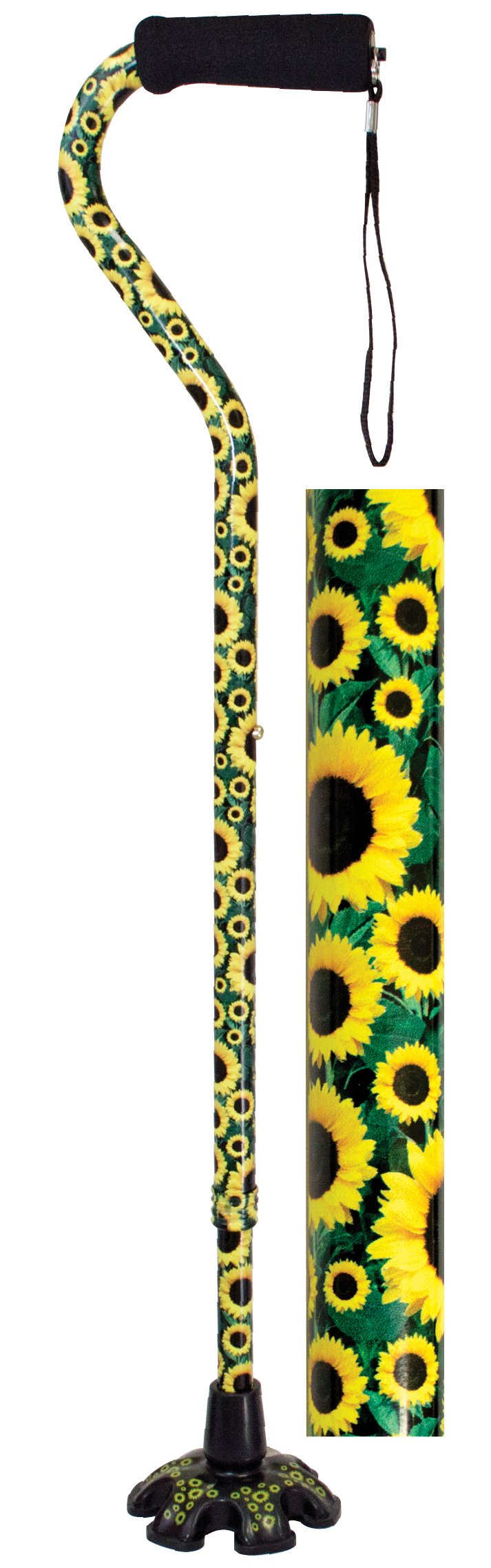 Essential Medical Supply Couture Offset Fashion Cane with Matching Standing Super Big Foot Tip, Sunflower Style