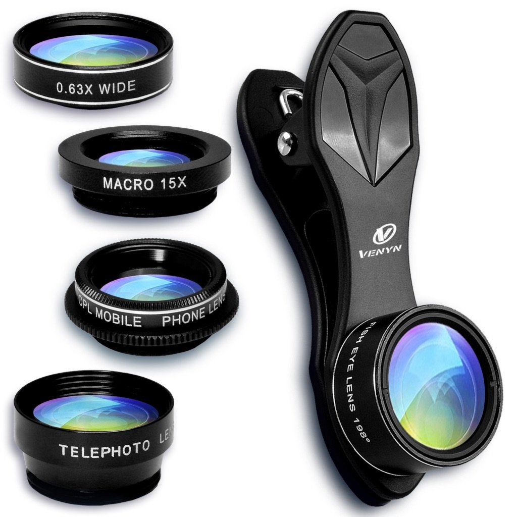 Cell Phone Camera Lens, Venyn 5 in 1 Kit - 15X Macro Lens, 2X Zoom Telephoto Lens, 0.63X Wide Angle Lens, 198°Fisheye Lens, CPL for iPhone X/8/7/6s/6Plus/5s & Samsung & Smartphone & Android by Venyn