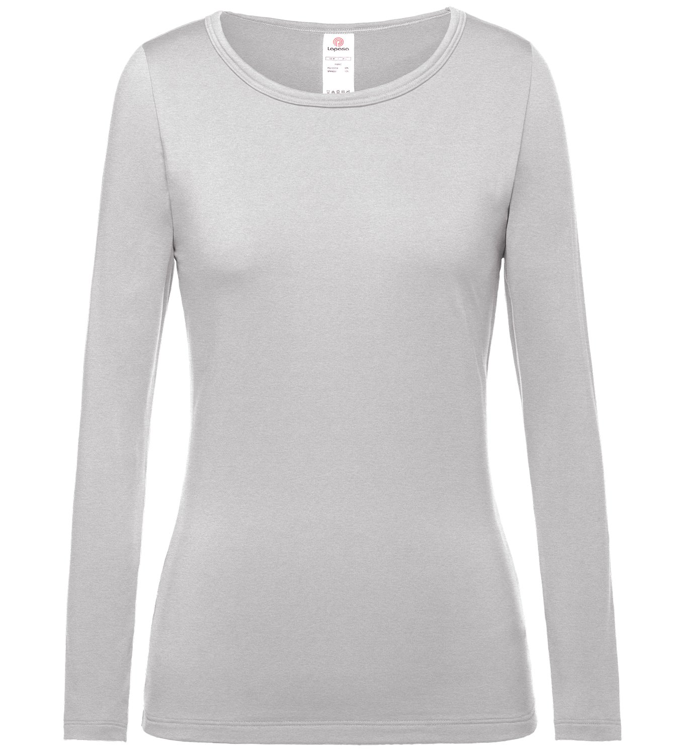 LAPASA Women's Lightweight Thermal Underwear Top Fleece Lined Base Layer Long Sleeve Shirt L15 (Grey, Medium) by LAPASA (Image #2)