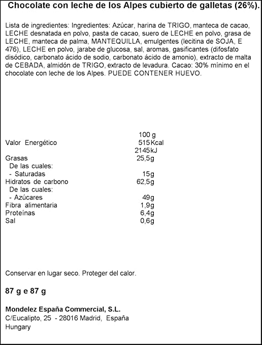 Milka LU Chocolate | Chocolate with Lu cookie pieces | 87gr/3.07oz