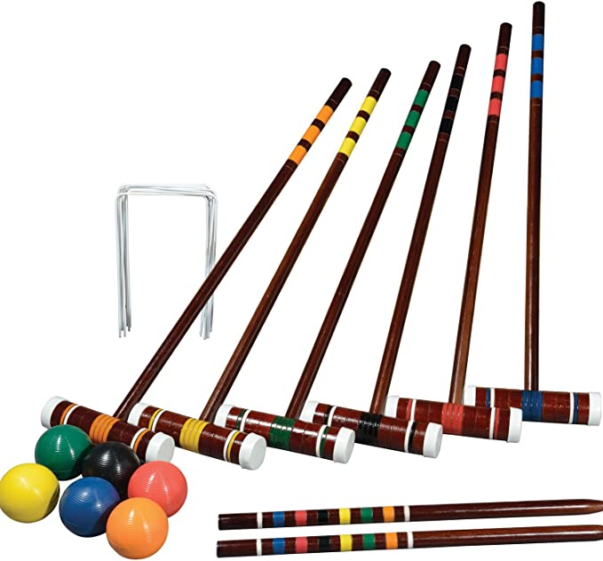 Amazon.com : Franklin Sports Outdoor Croquet Set - 6 Player Croquet Set with Stakes, Mallets, Wickets, and Balls - Backyard/Lawn Croquet Set - Intermediate : General Sporting Equipment : Sports & Outdoors
