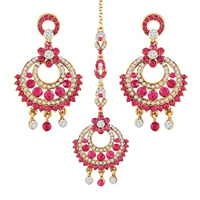 51caa8146879e I Jewels Gold Plated Ethnic Chandbali Earrings with Maang Tikka Set for  Women TE121Q (Pink)