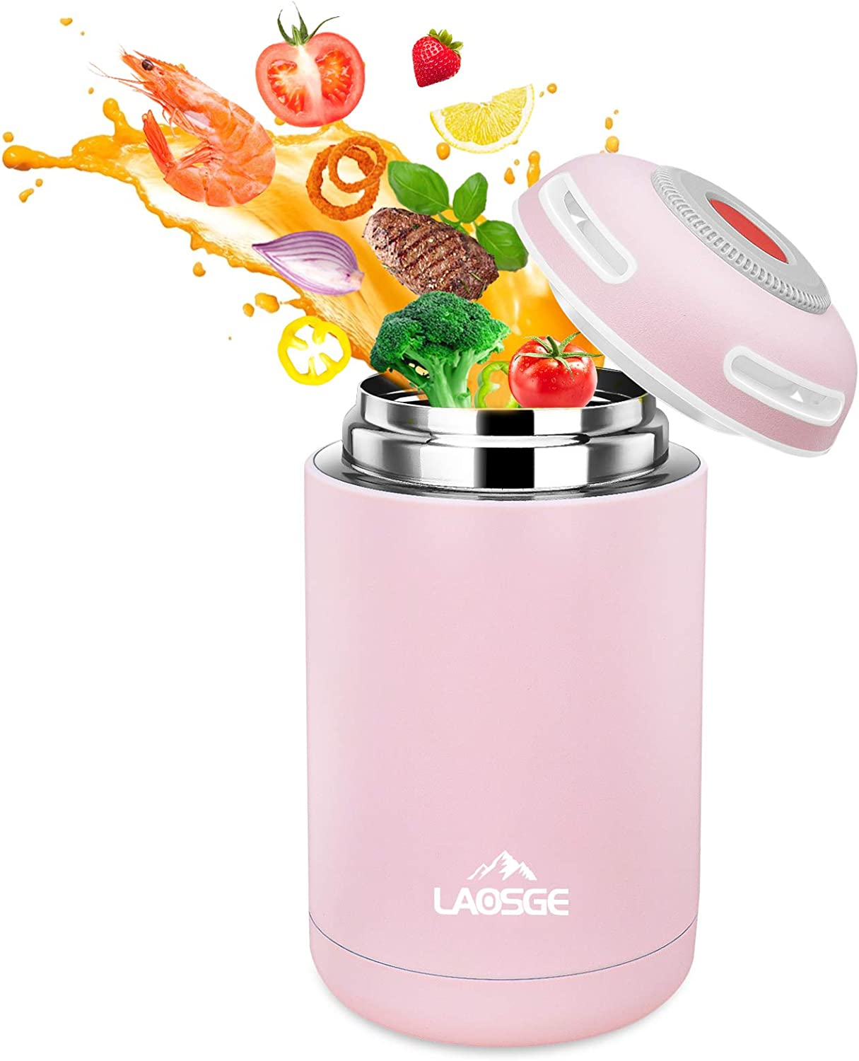LAOSGE Vacuum Insulated Jar Lunch Container, 16 oz Thermos for Hot Food, Stainless Steel Lunch Box, BPA Free Lunch Soup Container, Leak Proof Double Wall Vacuum Insulated for Kids/Adults (Pink)