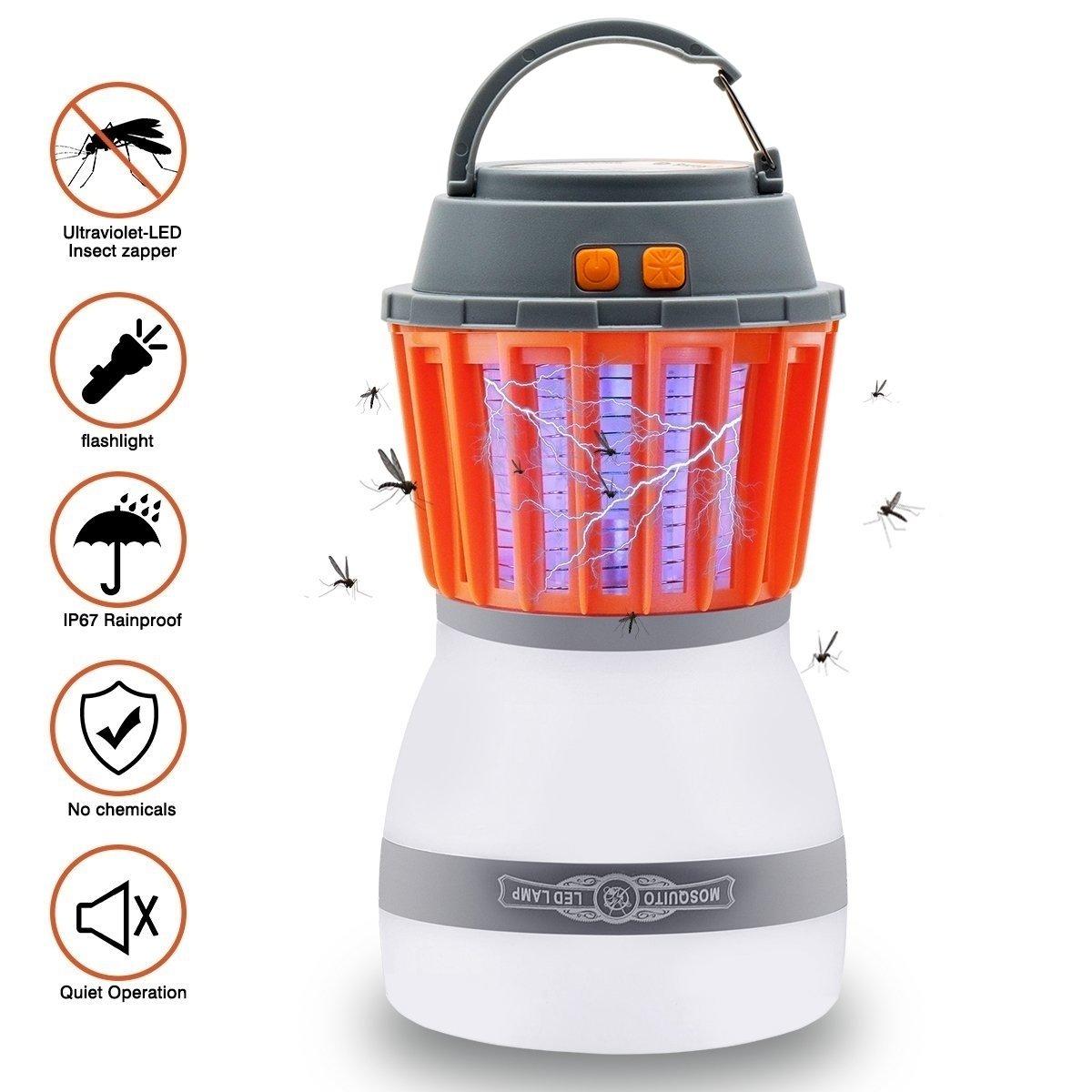 Camping Light, Tianhaixing Camping lantern Mosquito Killer Tent Light, repelente de insectos y IP67 Waterproof Bug Zapper, con 2000mAh batería recargable USB, pantalla extraíble y gancho retráctil para interiores y exteriores Chinatmax