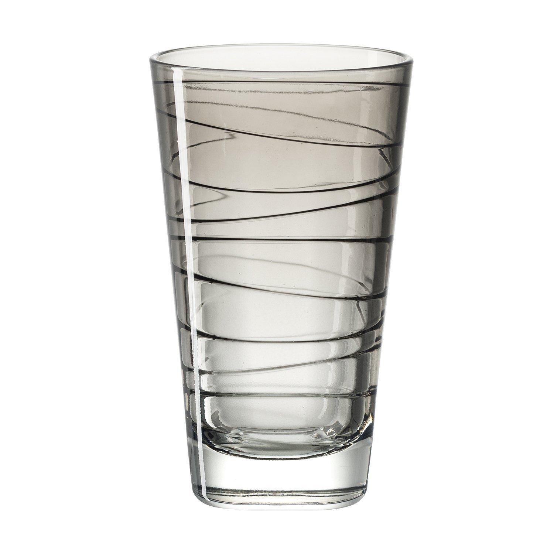 gro/ß Leonardo Vario Struktur 18236 200/ml Glas Becher f/ür Wasser und Saft Grau