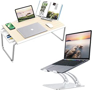 Nulaxy C6 [XXL Large Size] Laptop Bed Tray Desk & C1 Laptop Stand