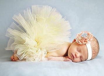 Butterme Nouveau-n/é B/éb/é Infant Shopping Soutien-gorge Costume Tenue Tutu Jupe Outfits Fleur Headband Set