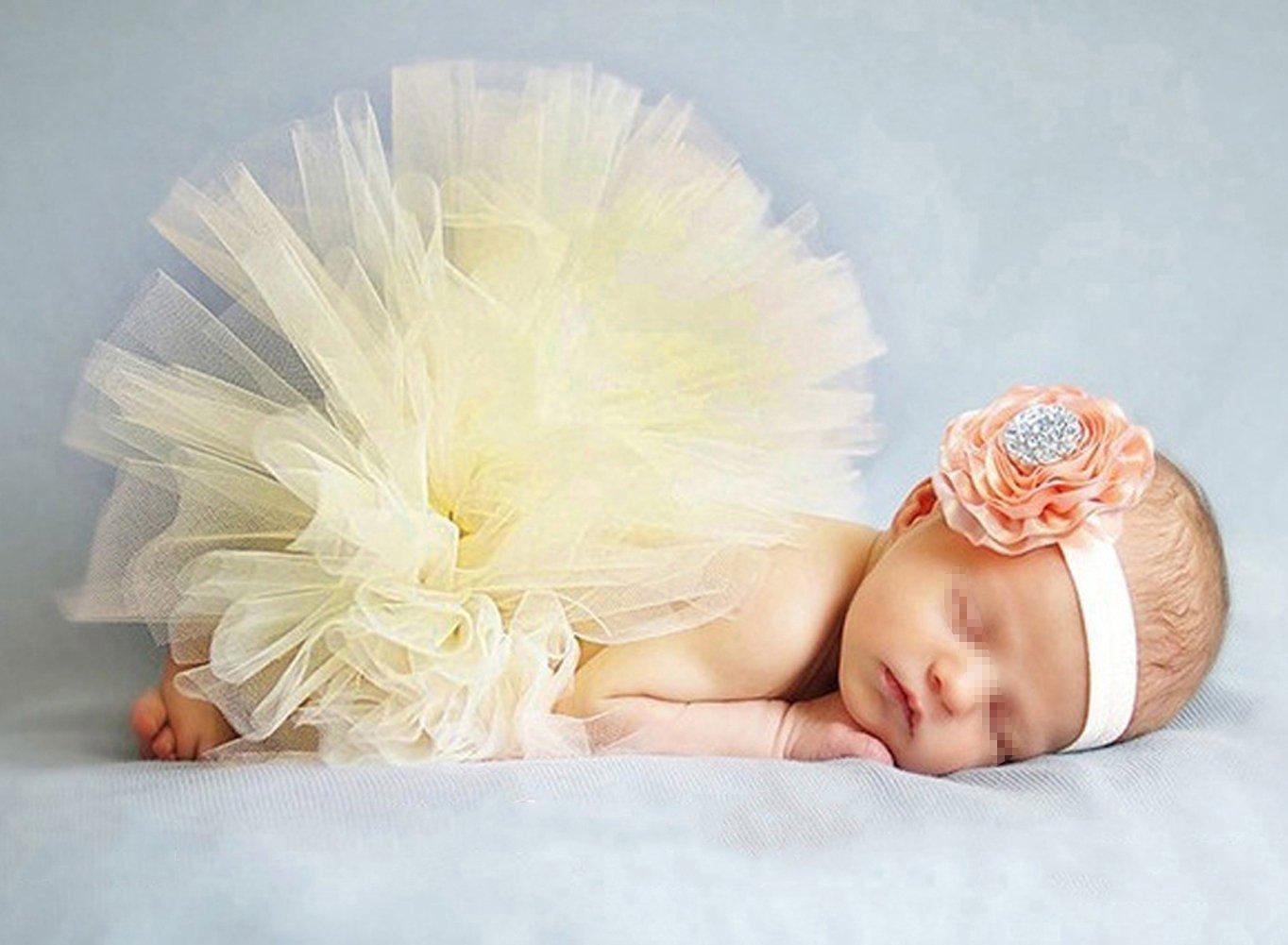 Butterem Neugeborene Baby Sä ugling Fotografie Stü tze Kostü m Outfits Tutu Rock Outfits Blume Stirnband Set, Dunkelblau ZUMUii ZUMU00005154