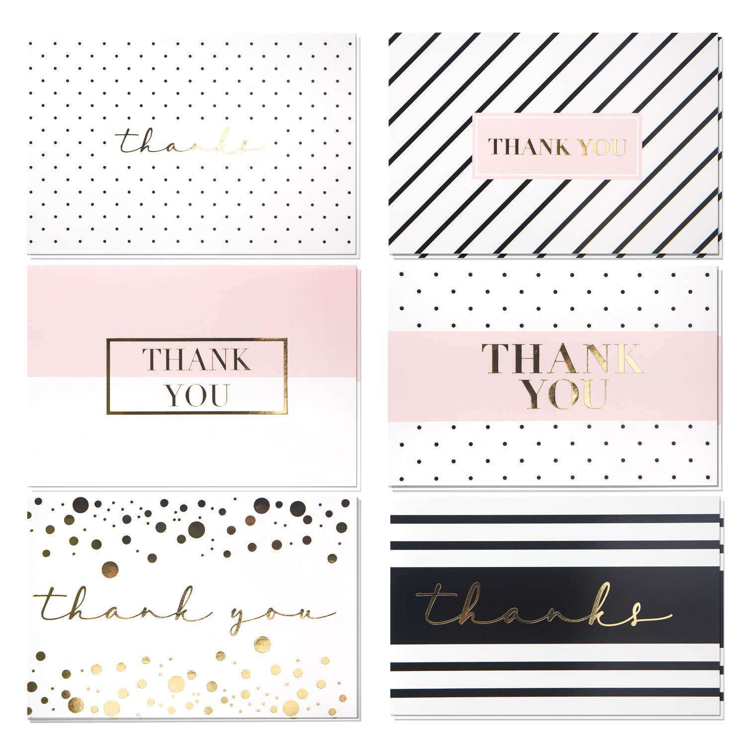60 Pack Thank You Cards - Gold Foil Thank You Cards - Elegant Greeting Cards With ''Thank you'' Embossed In Gold Letters -Baby Shower, Bridal, Wedding Thank You Cards - Include 60 Envelope - 4'' x 6''