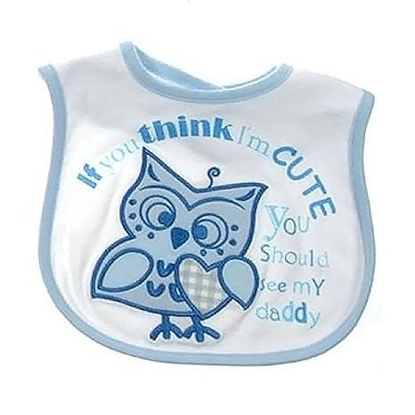 Baby Shower regalo – búho bebé babero con bordado Boy Girl azul azul Talla:mediano