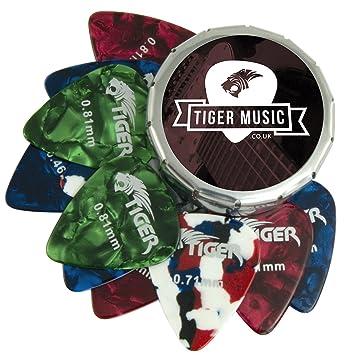 Tiger Guitar Plectrums With Pick Tin 12 Medium Picks