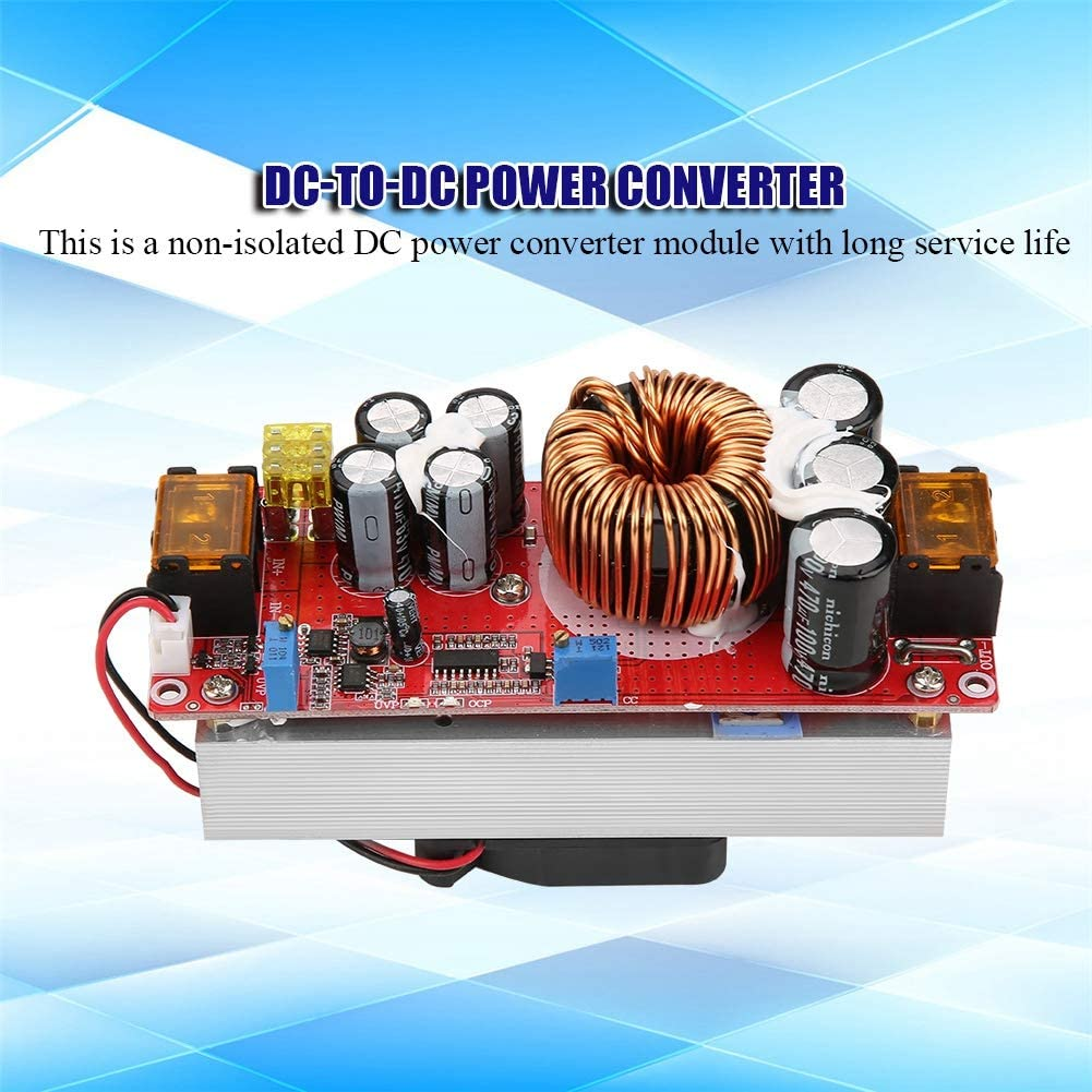 LED Lighting CV Driving ASHATA DC-DC 10-60V to 12-97V 1500W 30A Voltage Step Up Converter Boost CC CV Power Supply Constant Current Module with Smart Temperature Control Fan for Solar Street lamp