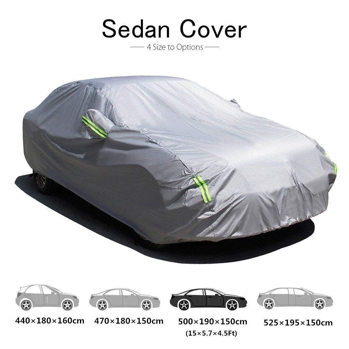 470 * 180 * 150cm MATCC Car Cover Sedan Cover Waterproof Snow Cover All Weather Protect from Moisture Snow Frost Corrosion Dust Outdoor UV Protection Fit 185 Inch