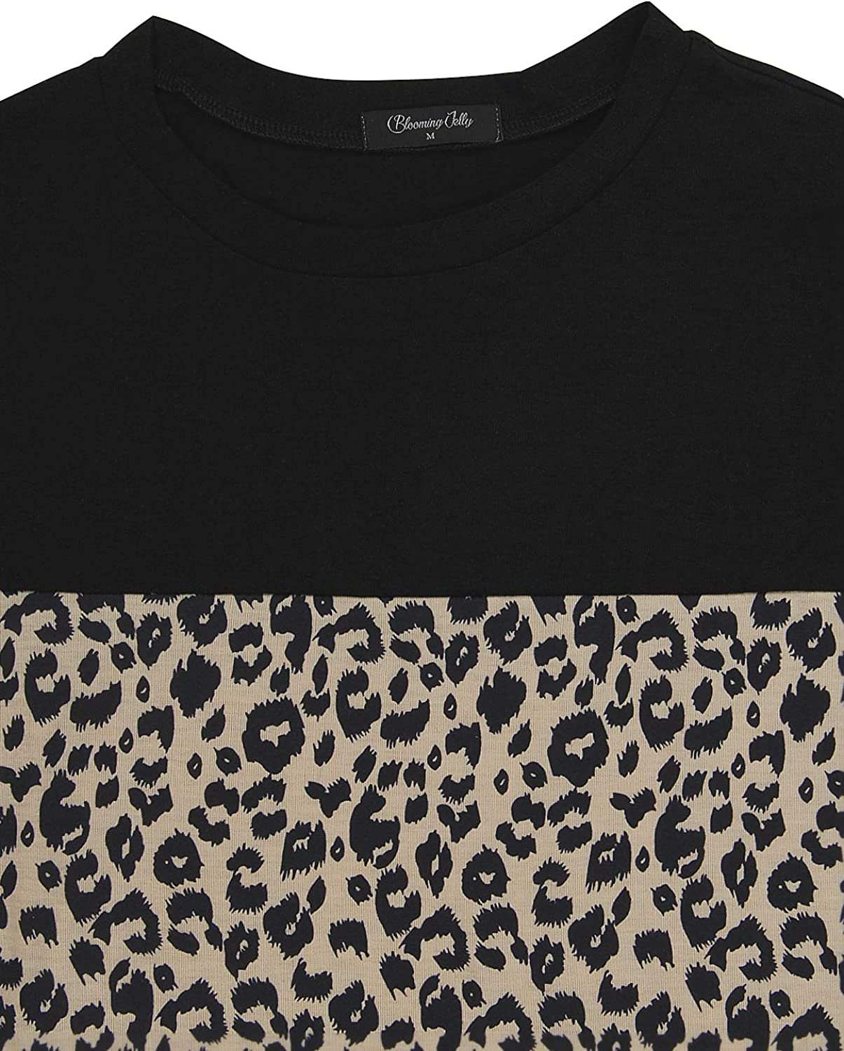 Blooming Jelly Womens Leopard Print Tops Short Sleeve Crew Neck T Shirt Basic Casual Shirt