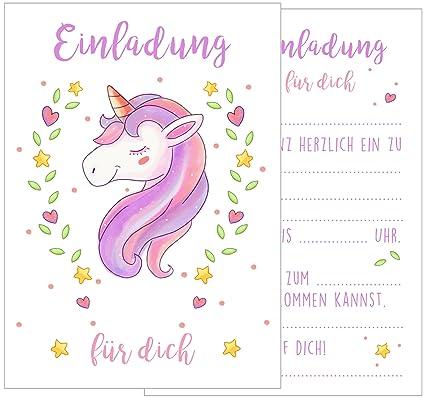 Set 12 tarjetas de invitación Cumpleaños Infantil Unicornio ...