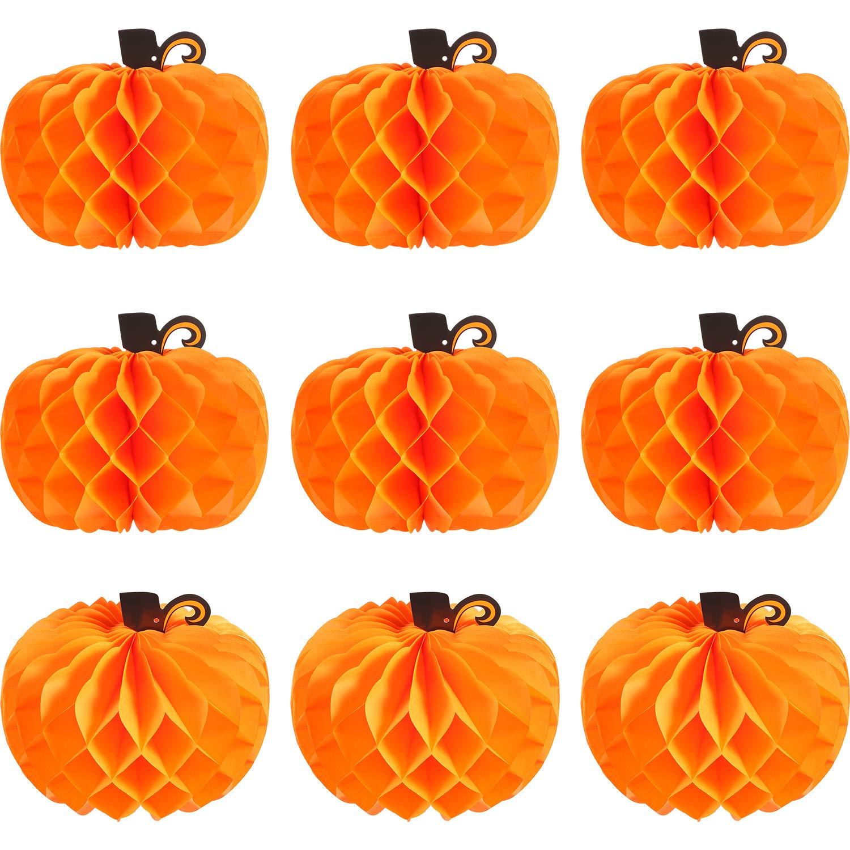 Jovitec 10 Pack Paper Pumpkin Honeycomb Pumpkin Centerpieces 3D Tissue Pumpkins 10.2 Inch Hanging Decoration for Thanksgiving Fall Festival Party Supplies by Jovitec