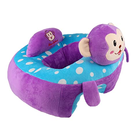 Baby Support Seat Plush Soft Baby Sofa Infant Baby Learning To Sit Chair    Purple Monkey