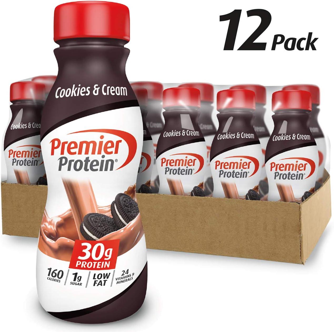 Premier Protein 30g Protein Shake, Cookies & Cream, 11.5 fl oz Shake, (12 count)