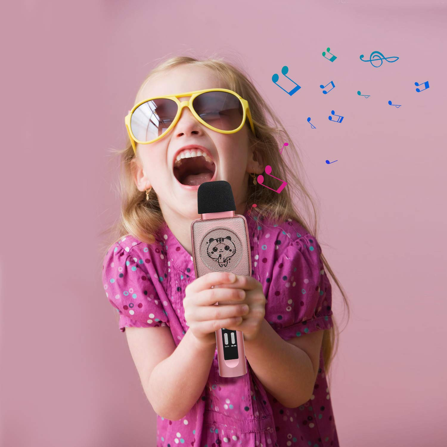 HOKLAN Kids Karaoke Microphone, Birthday Gifts for 3 4 5 6 7 8 9 Years Old Kids Girls, Birthday Presents & Toys for Children, Handheld Bluetooth Karaoke Machine with Voice Changer & Built-in Speaker by HOKLAN (Image #3)