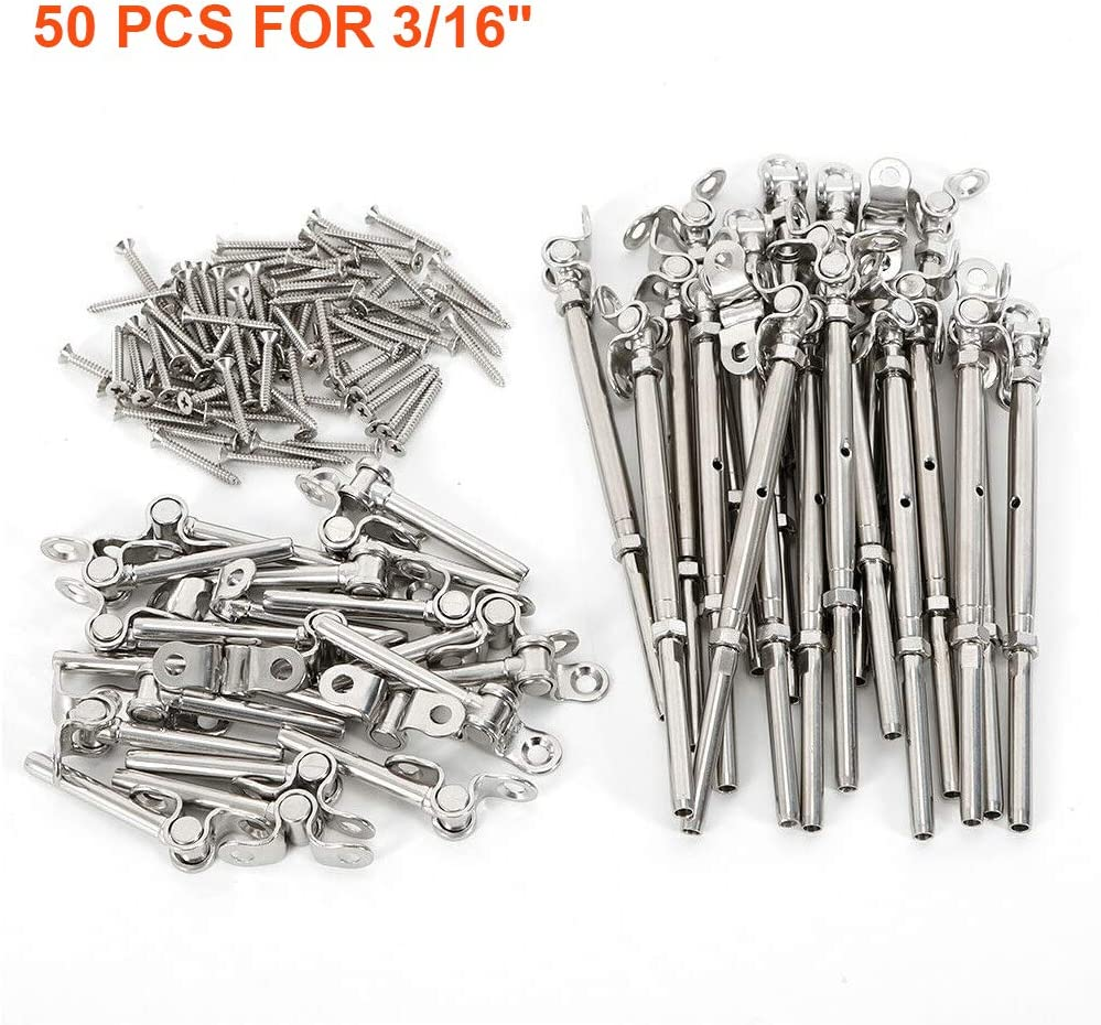 """(50 Pack) 180° Adjustable T-316 Stainless Steel Deck Cable Railing Kit fits 3/16"""" Stainless Steel Wire Rope Cable in&Outdoor Stair Railing"""