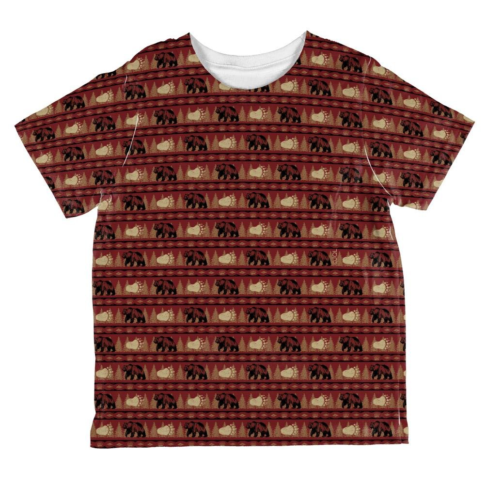 Grizzly Bear Pattern Red All Over Toddler T Shirt