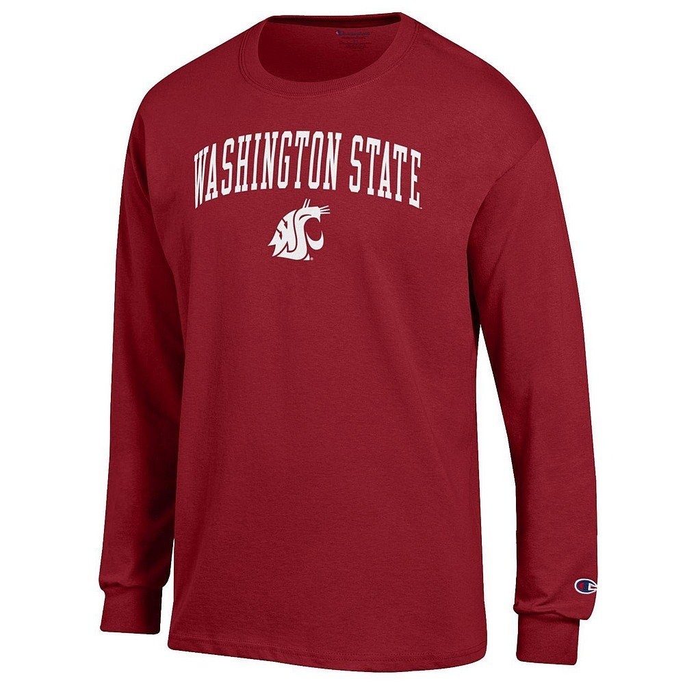 Washington State Cougars Crimson Large NCAA Mens Team color Arch Long Sleeve Shirt