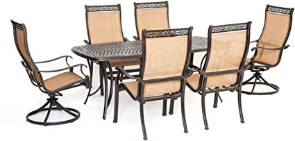 Amazon Com Cambridge Legacy7pcsw Tn 7 Piece Legacy Dining Set With Two Swivel Rockers Outdoor Furniture Tan Garden Outdoor