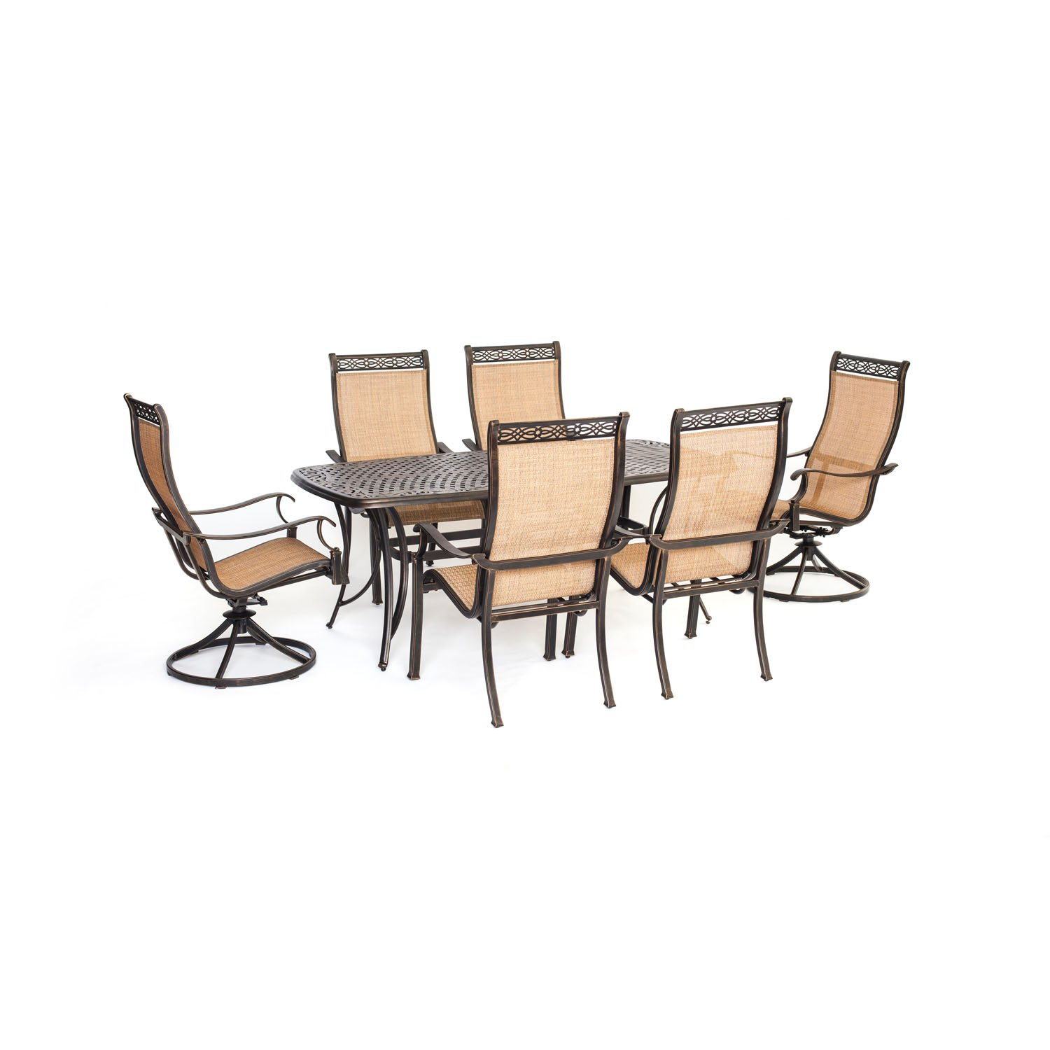 amazon com hanover manor 7 piece outdoor dining set with two