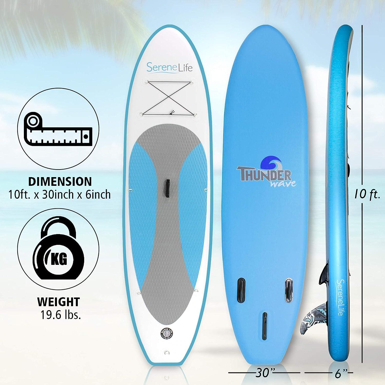 Jeunesse et adulte Serenelife gonflable Stand Up Paddle Board antid/érapant Deck 15,2/cm d/épaisseur universel SUP M/ât t/élescopique W//bas fin pour Pataugeoire et contr/ôle de surf